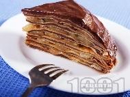 Палачинкова торта с ябълки и шоколадов крем с нишесте